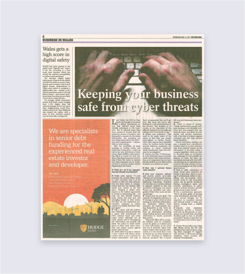 our latest news article keeping your business safe from cyber attacks