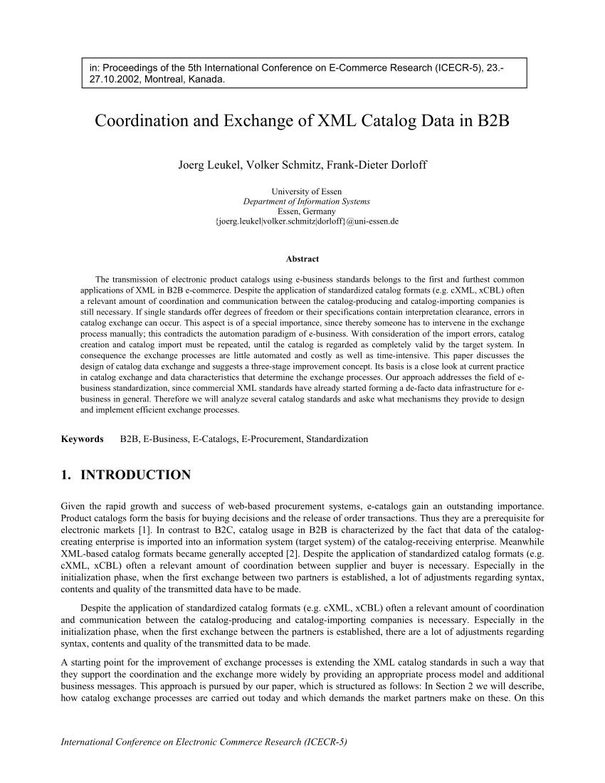 pdf coordination and exchange of xml catalog data in b2b