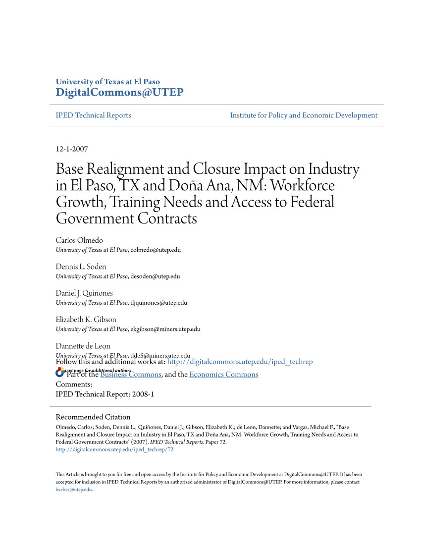 pdf base realignment and closure impact on industry in el paso tx and doa a ana nm workforce growth training needs and access to federal government