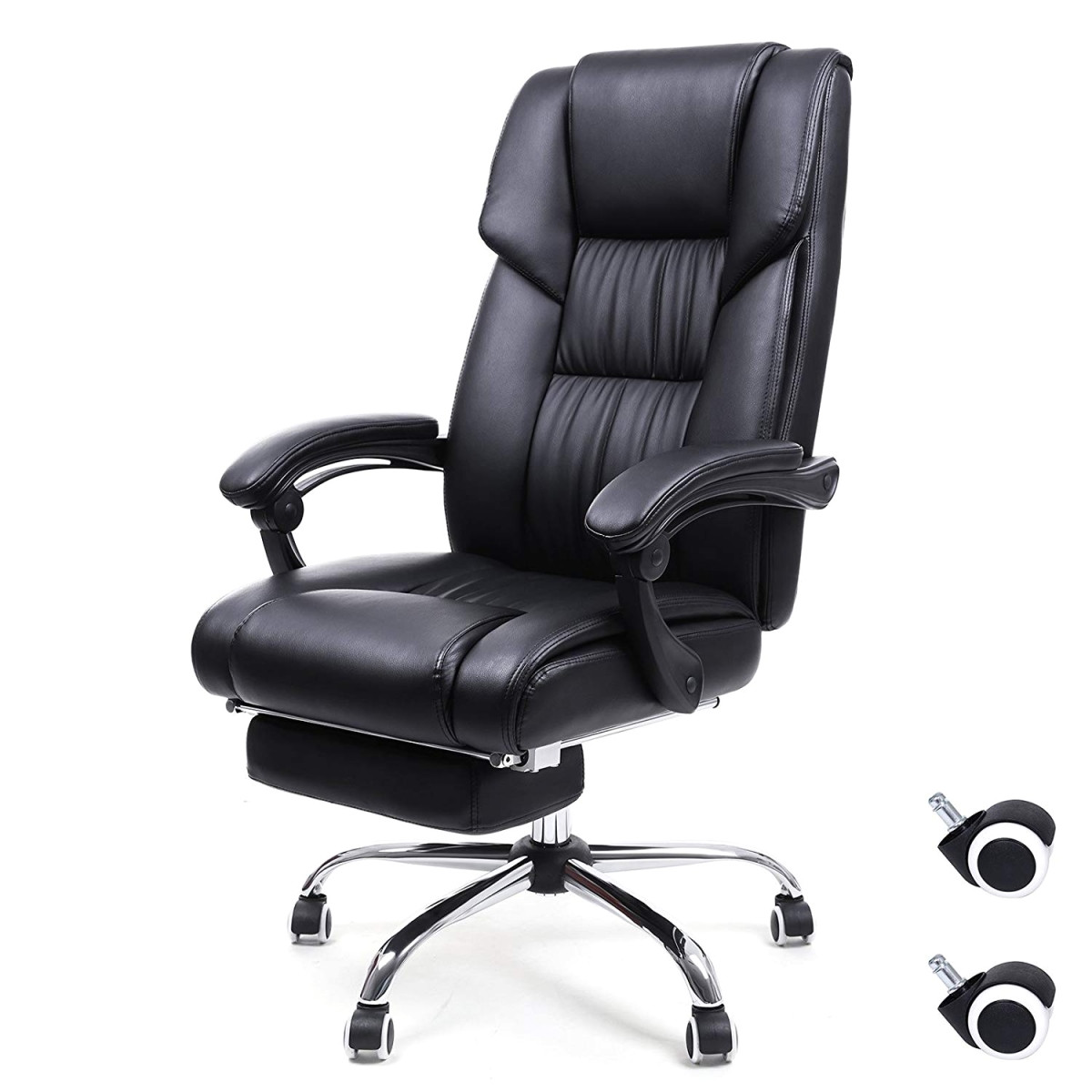 amazon songmics fice chair high back executive swivel chair with seat and pull out footrest pu