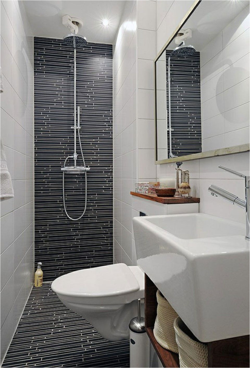 doorless shower ideas in cool small bathroom design with floating toilet feat wall hung sink and black floor