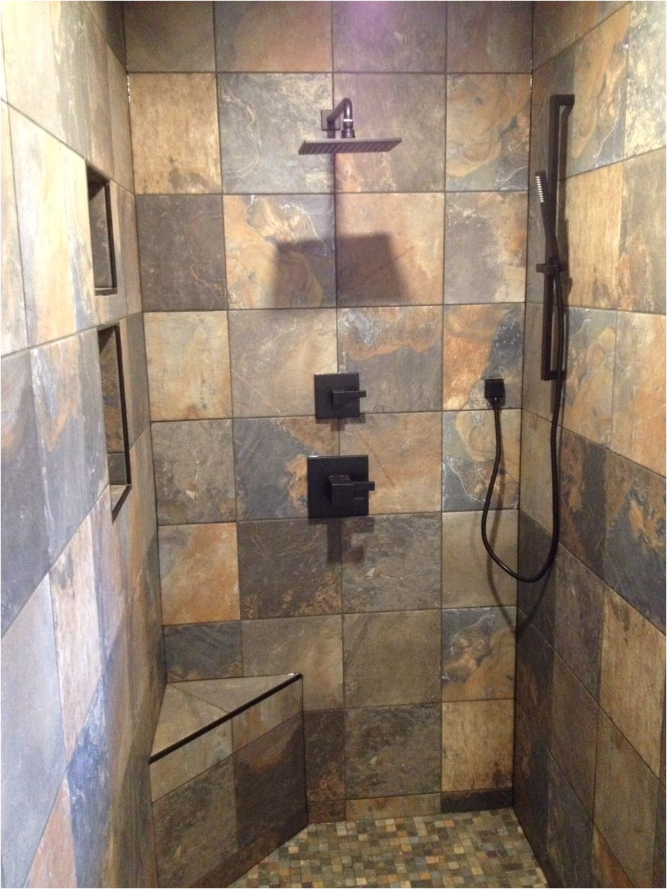 slate tile black accessories black tile trim doorless shower