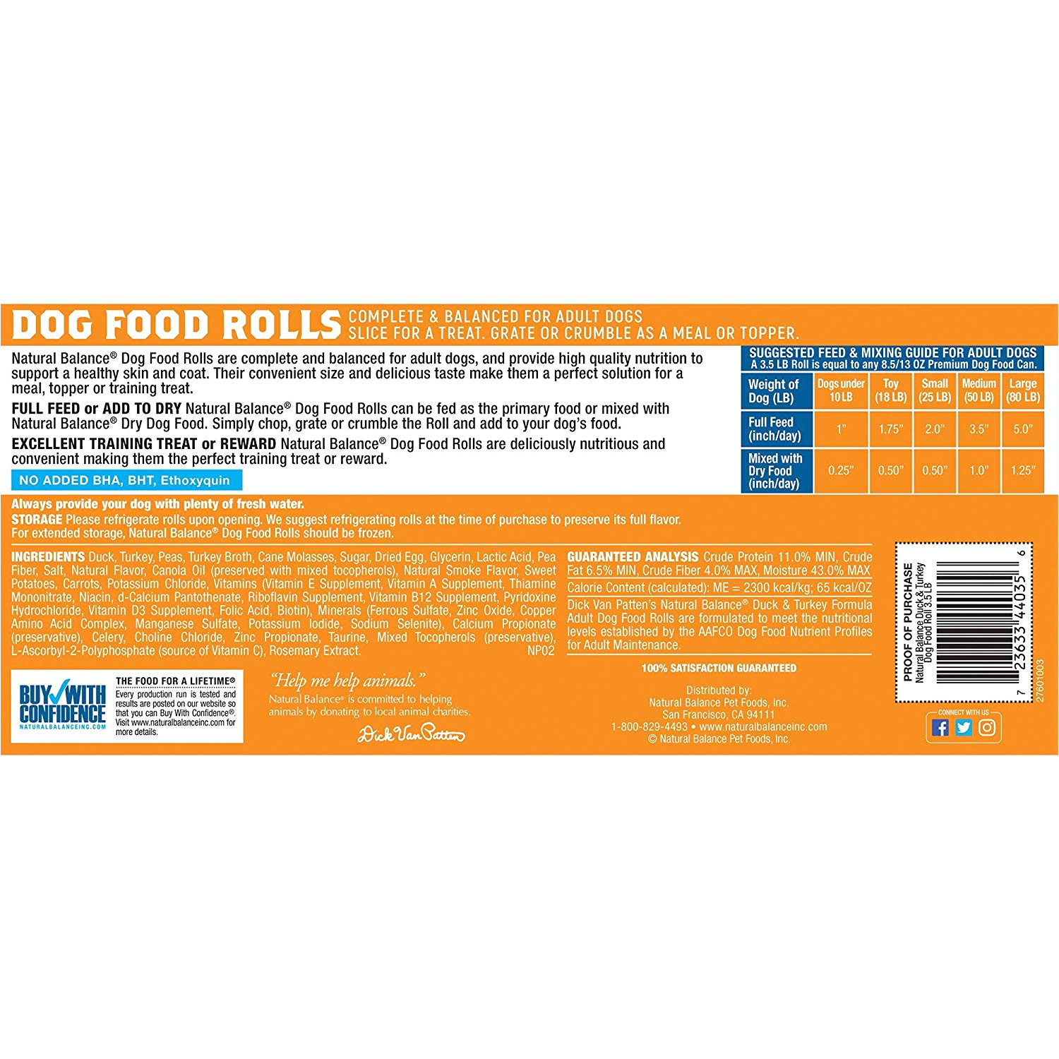 amazon com natural balance dog food roll duck turkey formula 3 5 pound pet supplies