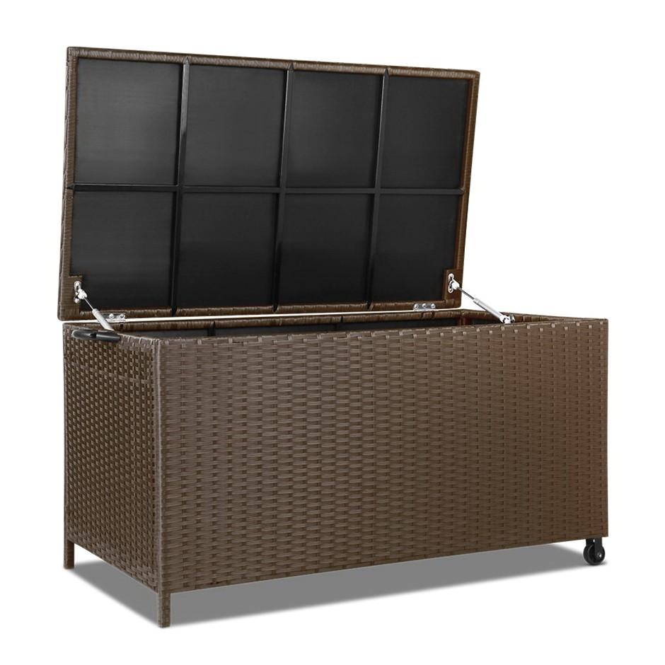 gardeon 320l outdoor wicker storage box brown