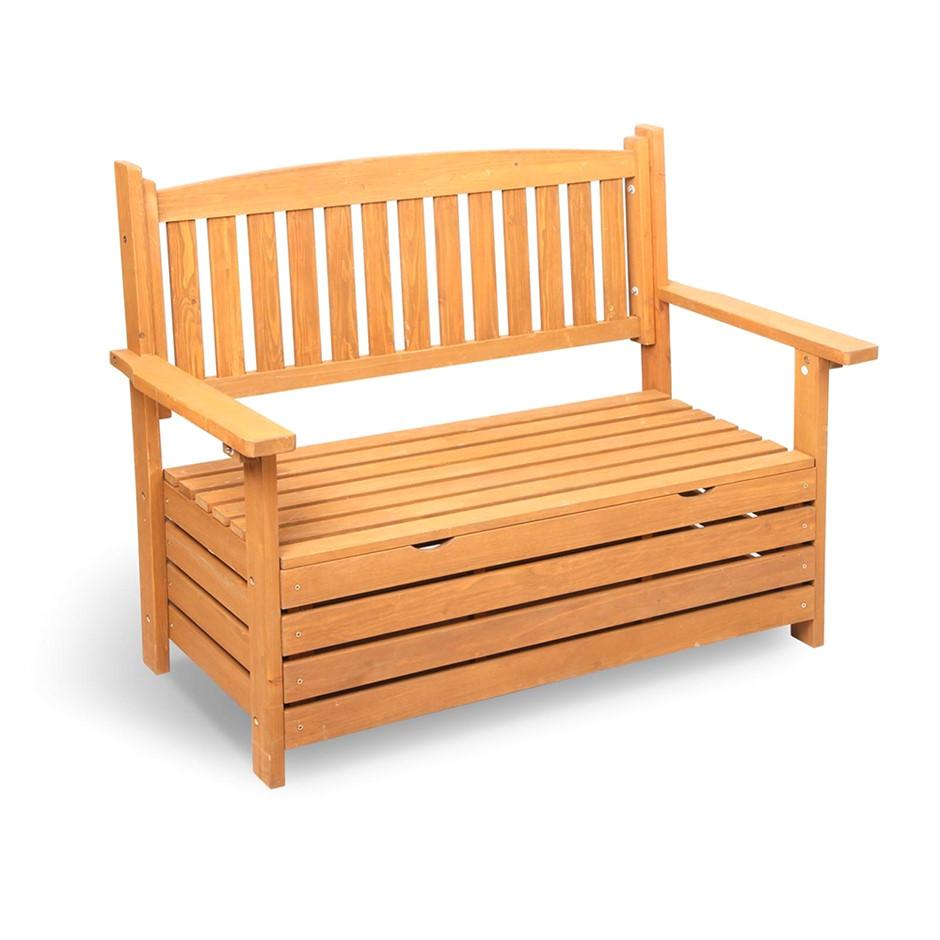 gardeon 2 seat wooden outdoor storage bench