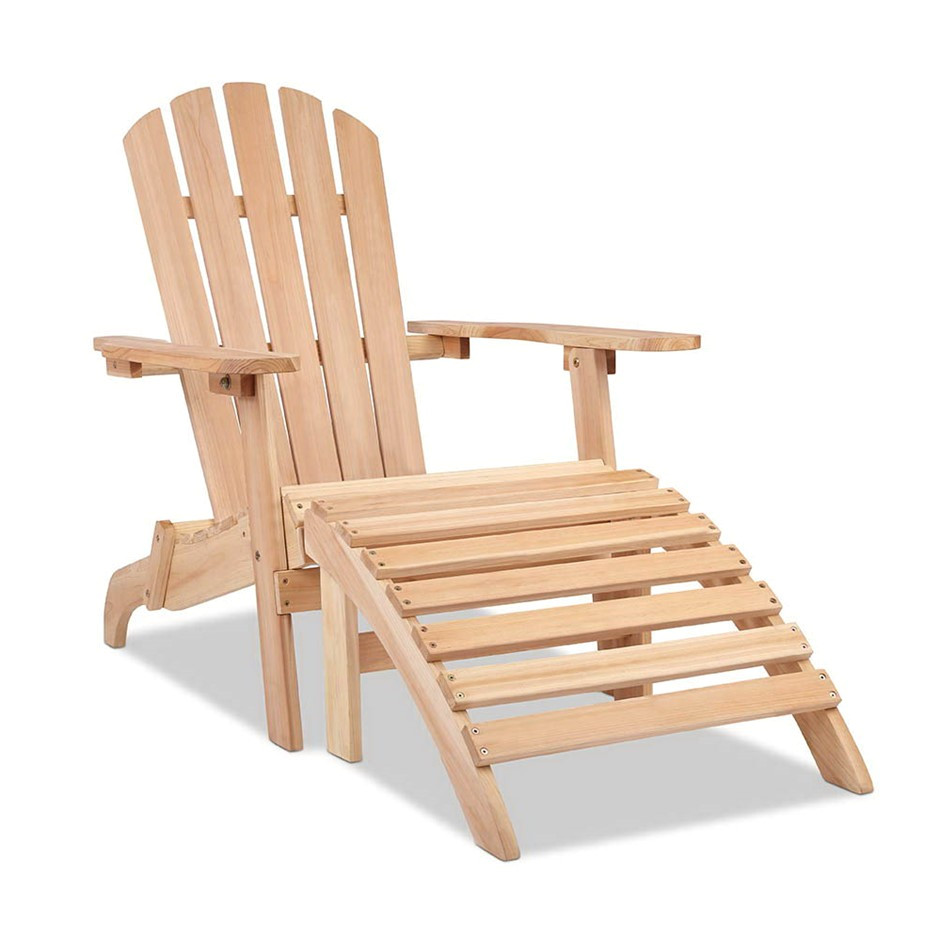 gardeon outdoor wooden lounge chair natural wood