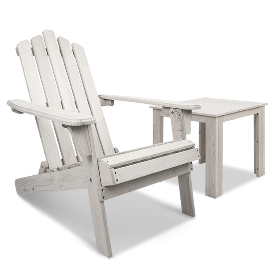 gardeon outdoor adirondack lounge chair and side table white