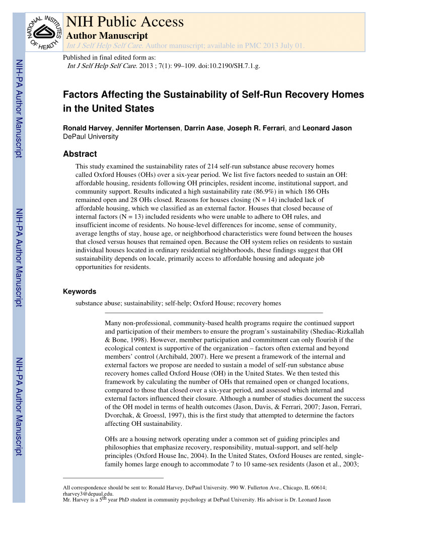 pdf increasing the number of mutual help recovery homes for substance abusers effects of government policy and funding assistance