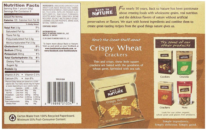 amazon com back to nature non gmo crackers crispy wheat 1 ounce 8 count