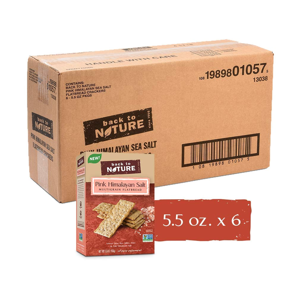 amazon com back to nature pink himalayan salt multigrain flatbread crackers 5 5 oz pack of 6 non gmo