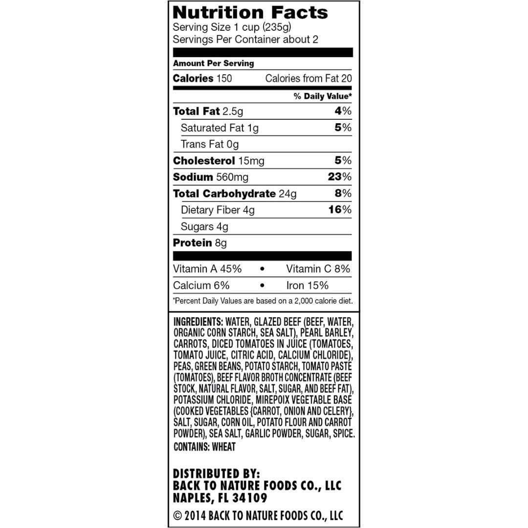 amazon com back to nature soup beef barley 17 4 ounce pack of 6 grocery gourmet food