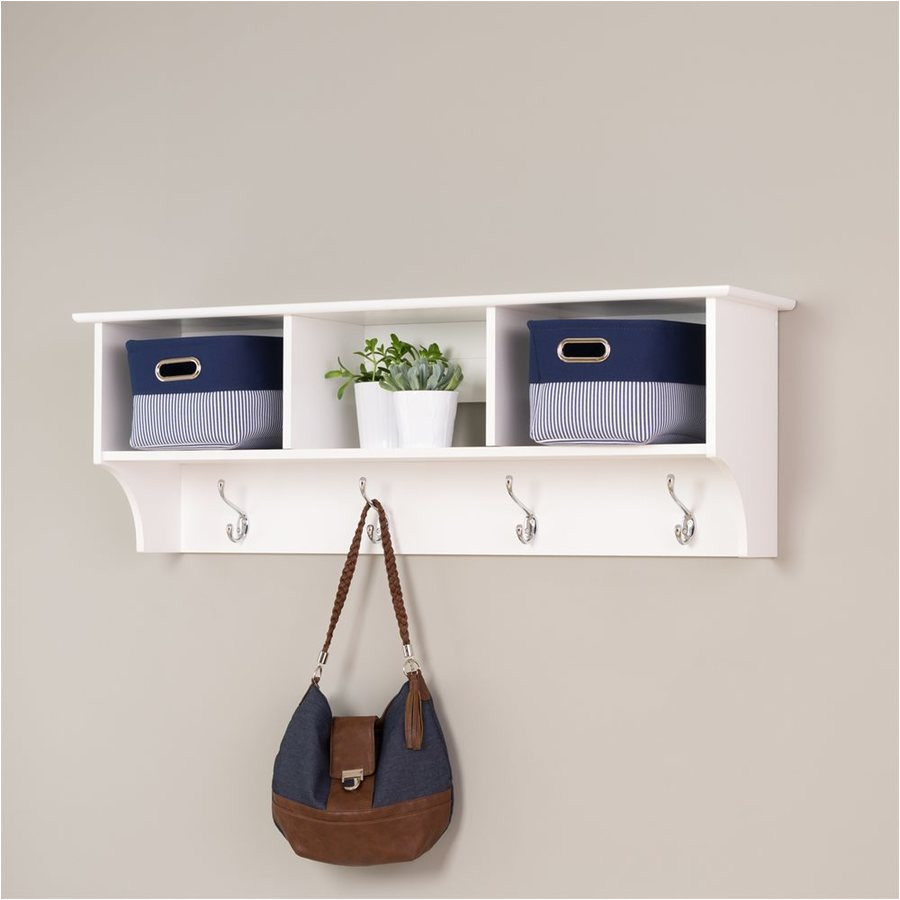 prepac white 8 hook wall mounted coat rack