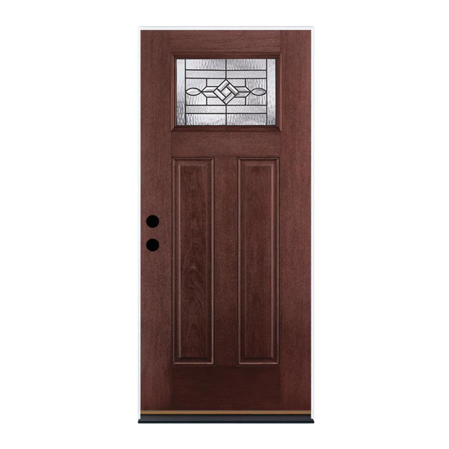 therma tru benchmark doors wickerpark left hand outswing dark mahogany stained fiberglass entry door