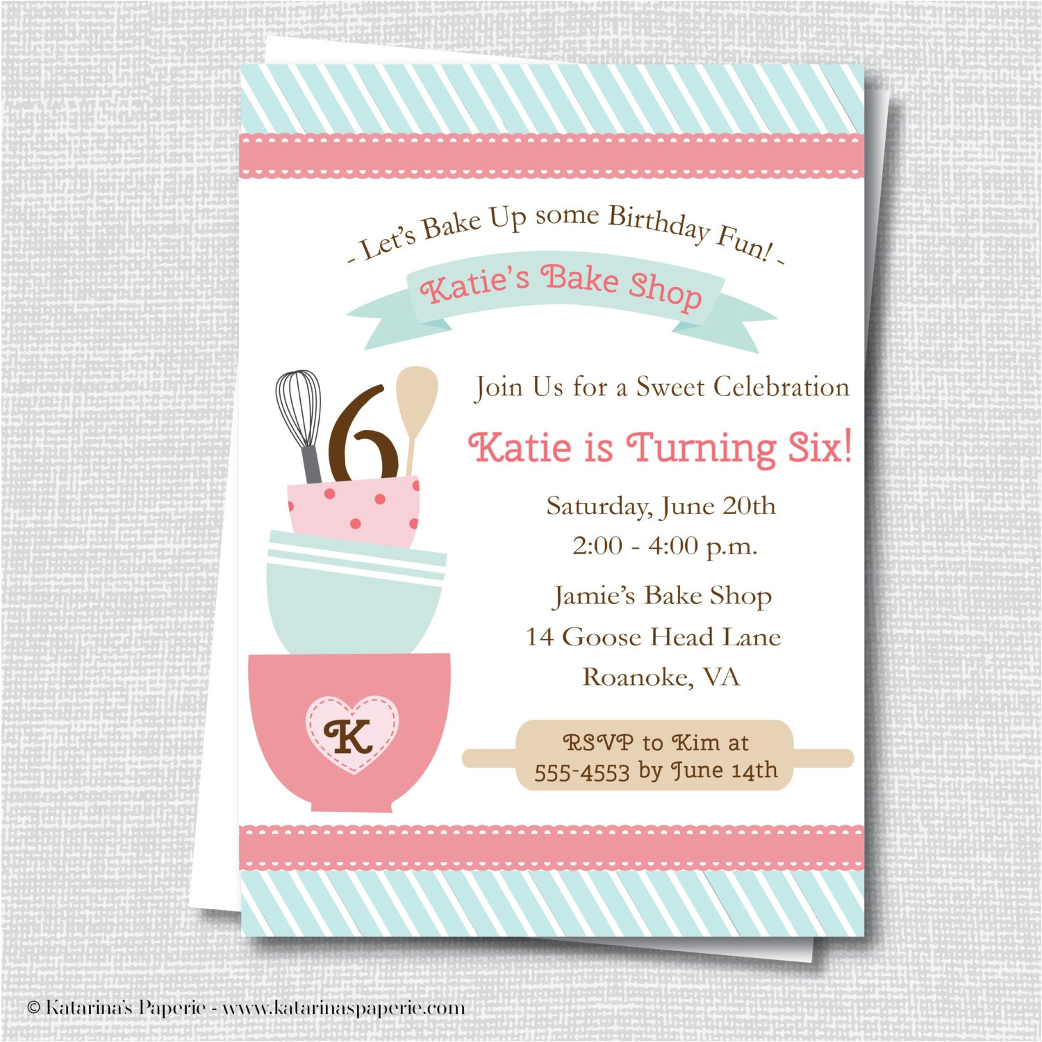 Party Supplies In Roanoke Va Baking Birthday Party Invitation Baking Party Cooking Etsy