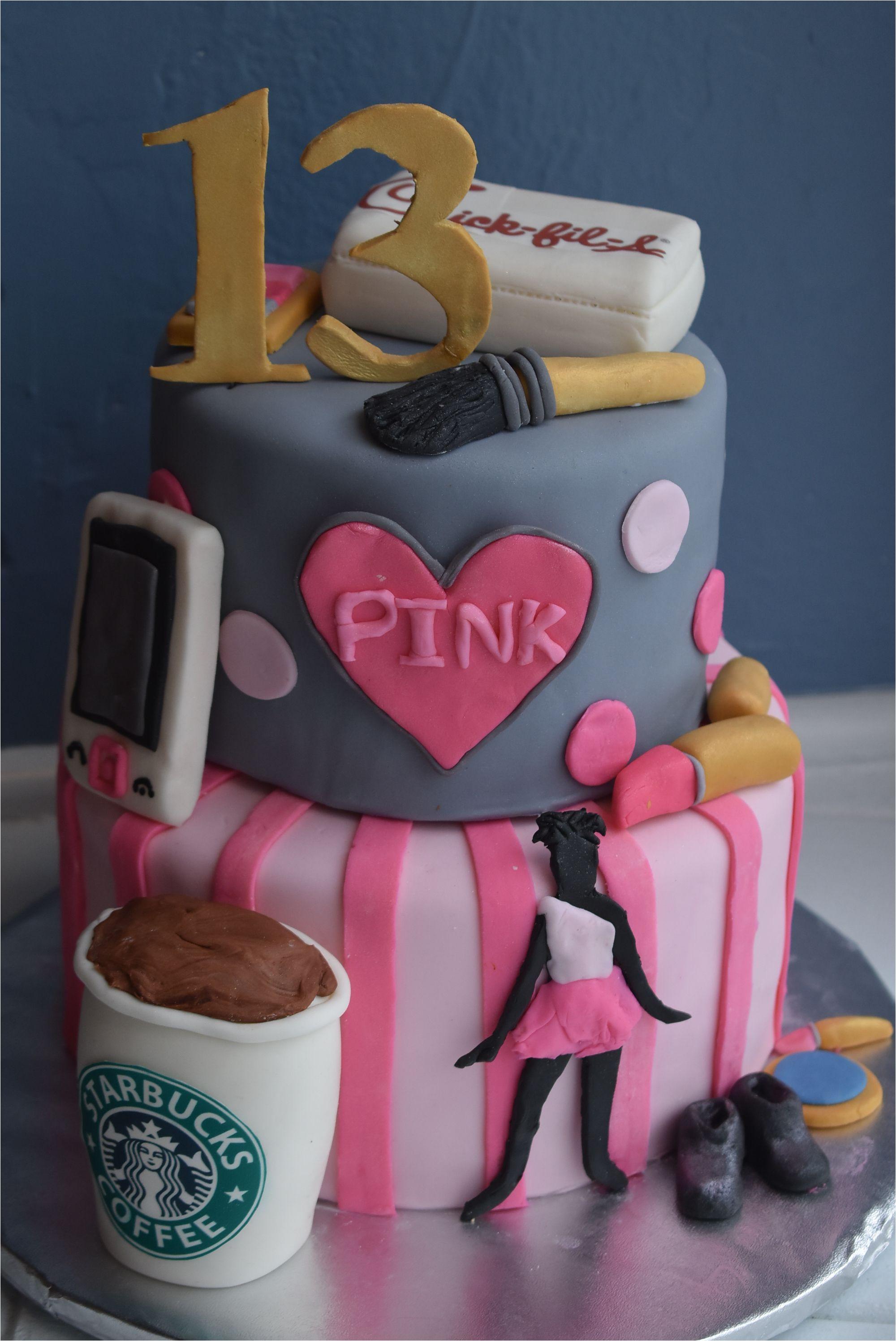 13 birthday cake with starbucks chickfila pink dance and makeup roanoke va willow pond bakery