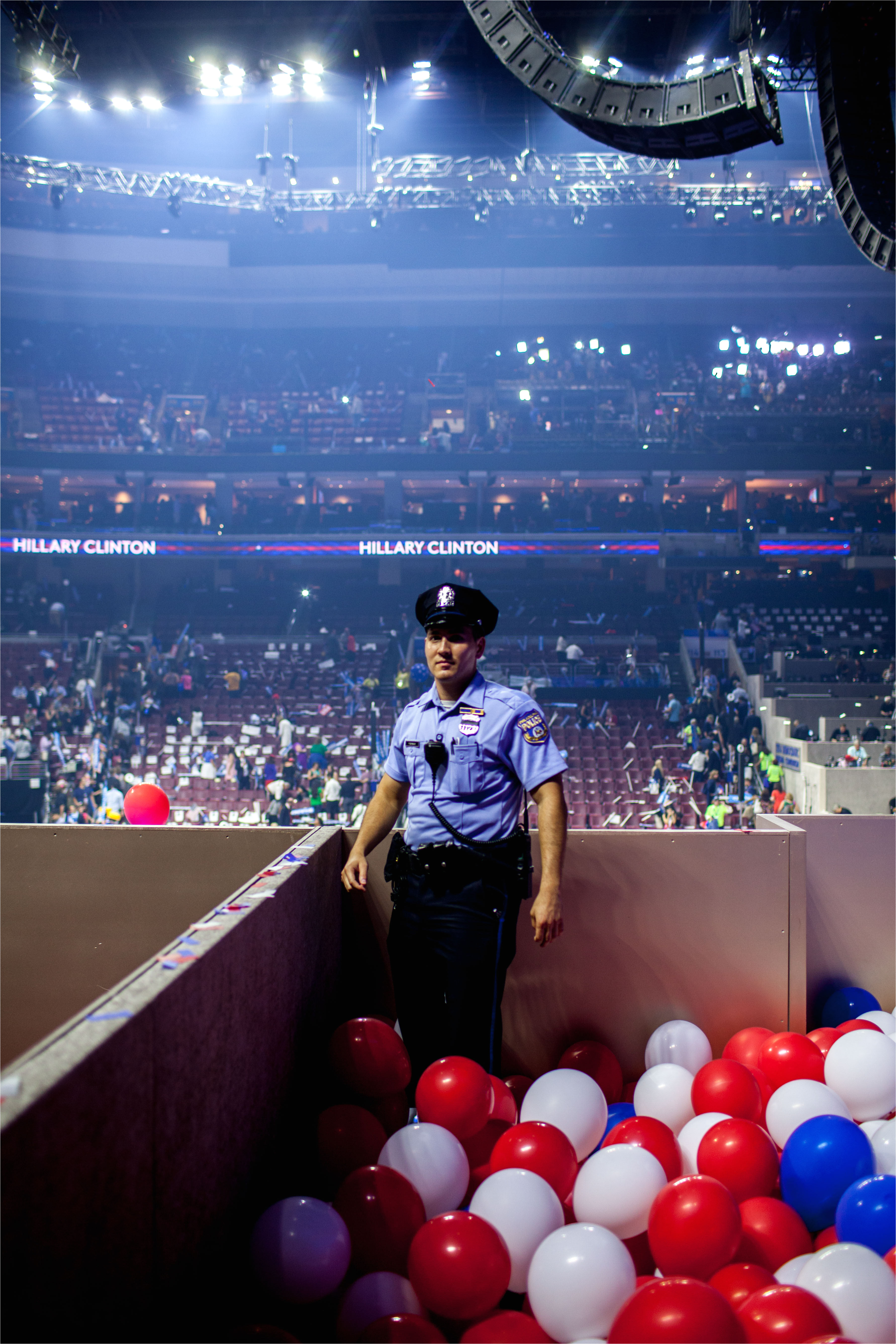 security backstage on the fourth day of the democratic national convention at the wells fargo center