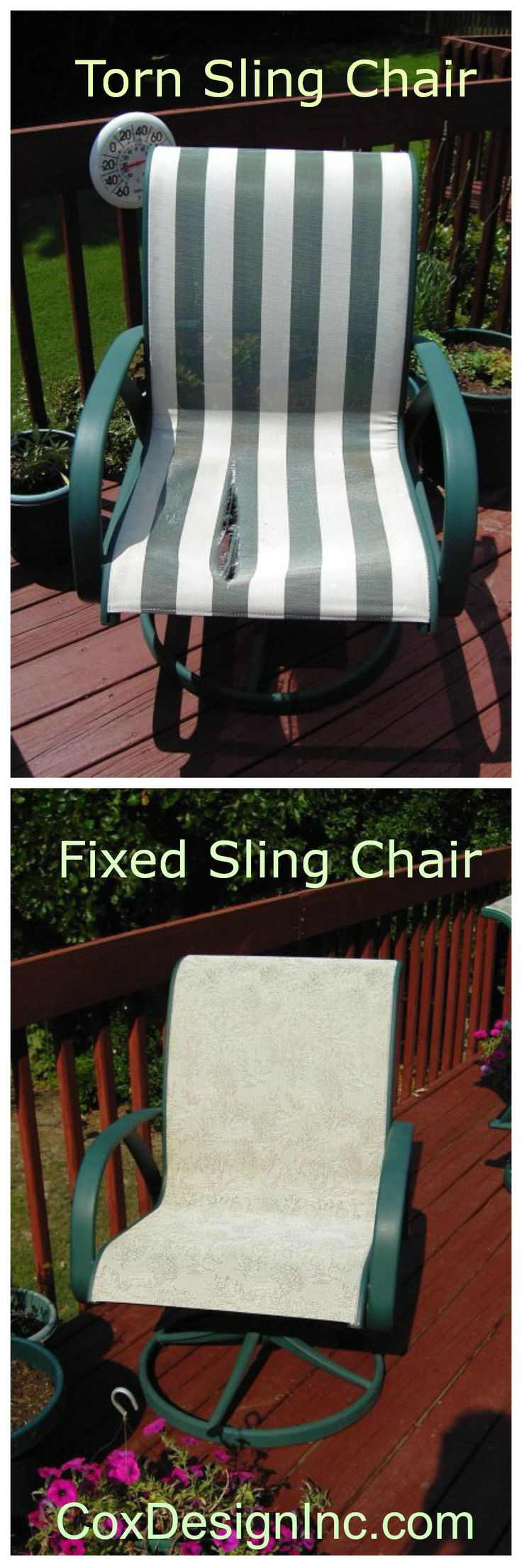 we can replace the fabric in sling type chairs to make them look new again