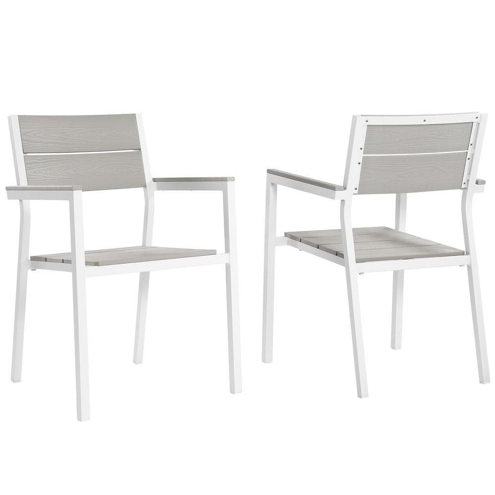 modway maine white aluminum outdoor patio dining chair in light gray set of 2