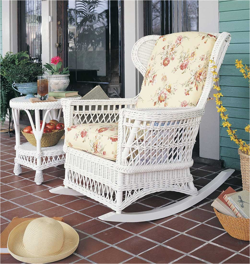 vintage natural wicker rocking chair white