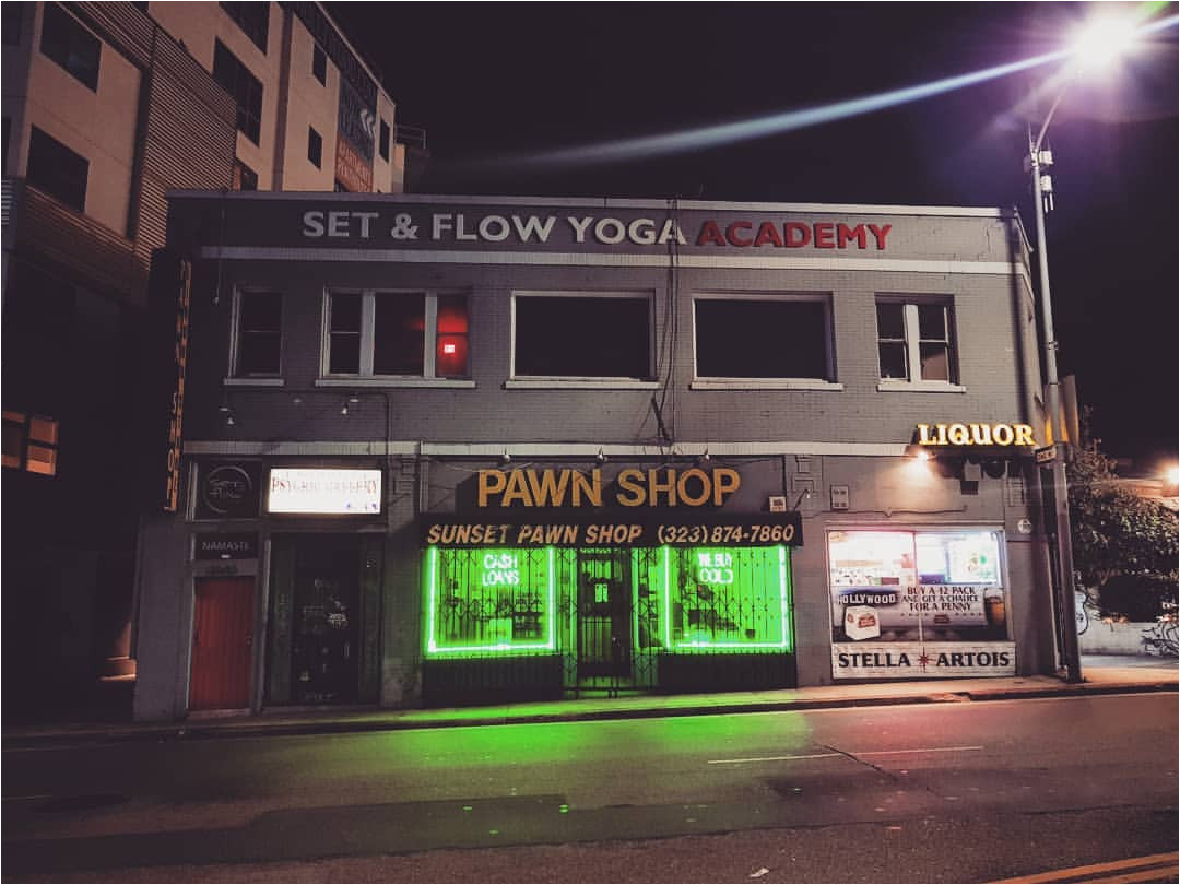 p a w n s h o pa night streetlights neon green pawnshop dark outforawalk