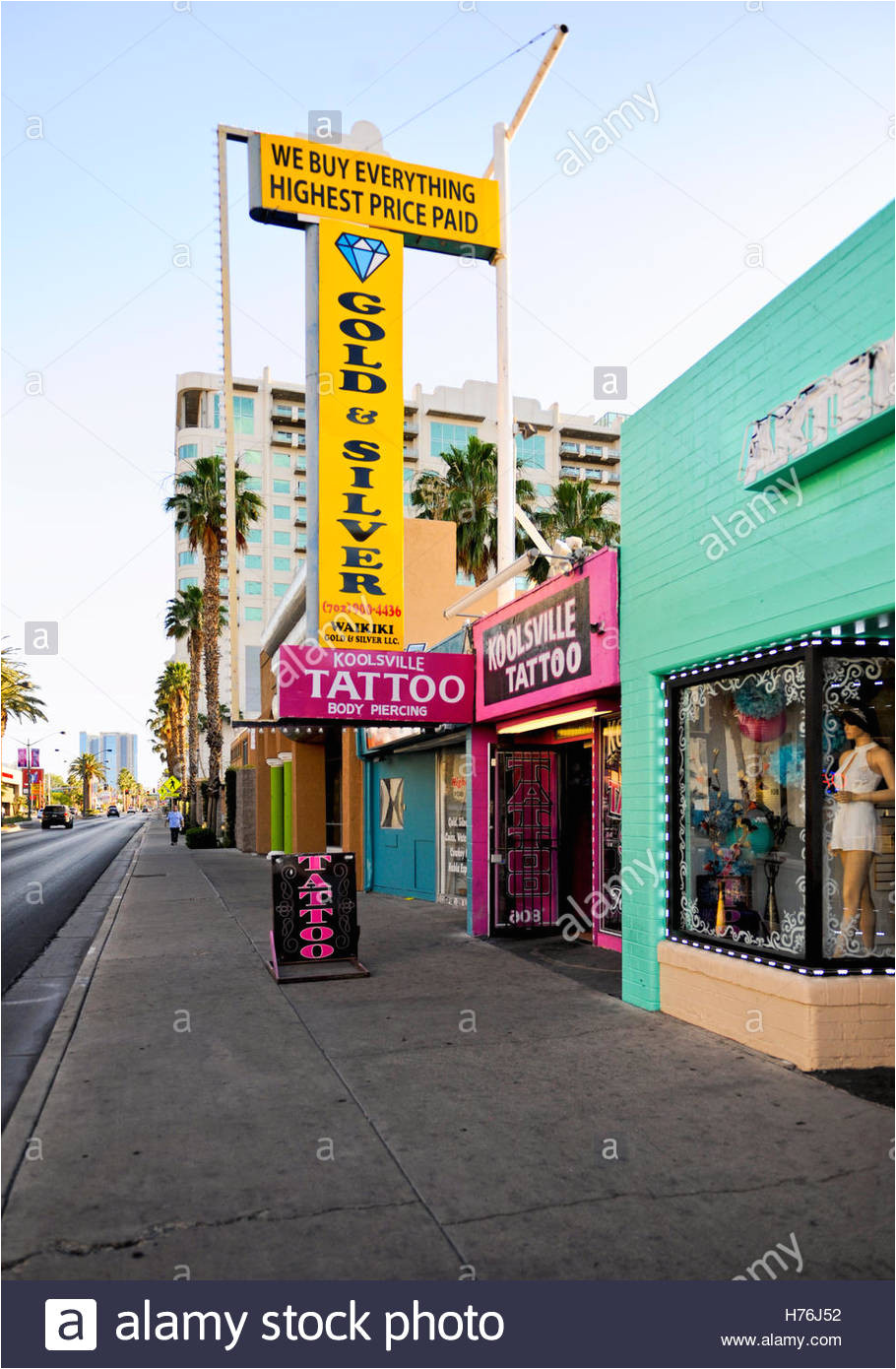 pawn shop and other storefronts at dusk in downtown las vegas nevada stock image
