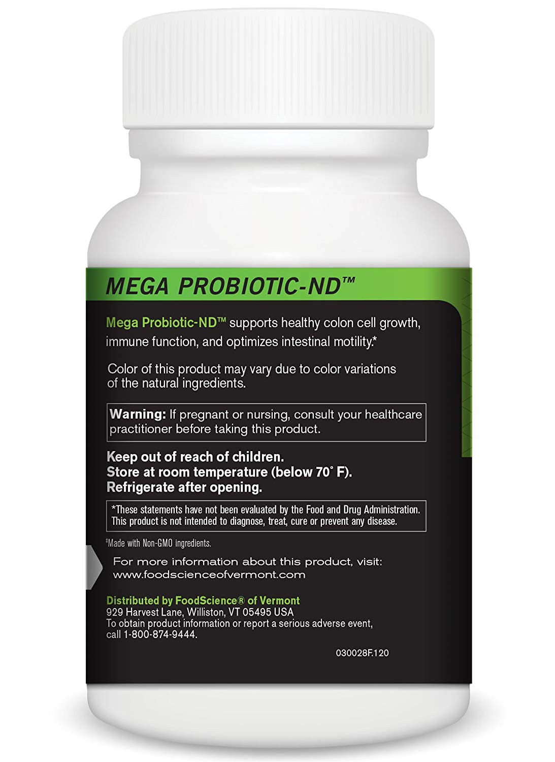 amazon com foodscience of vermont mega probiotic nd digestive health supplement 120 capsules health personal care