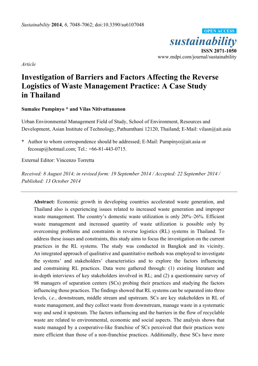 pdf examination of factors influencing the successful implementation of reverse logistics in the construction industry pilot study