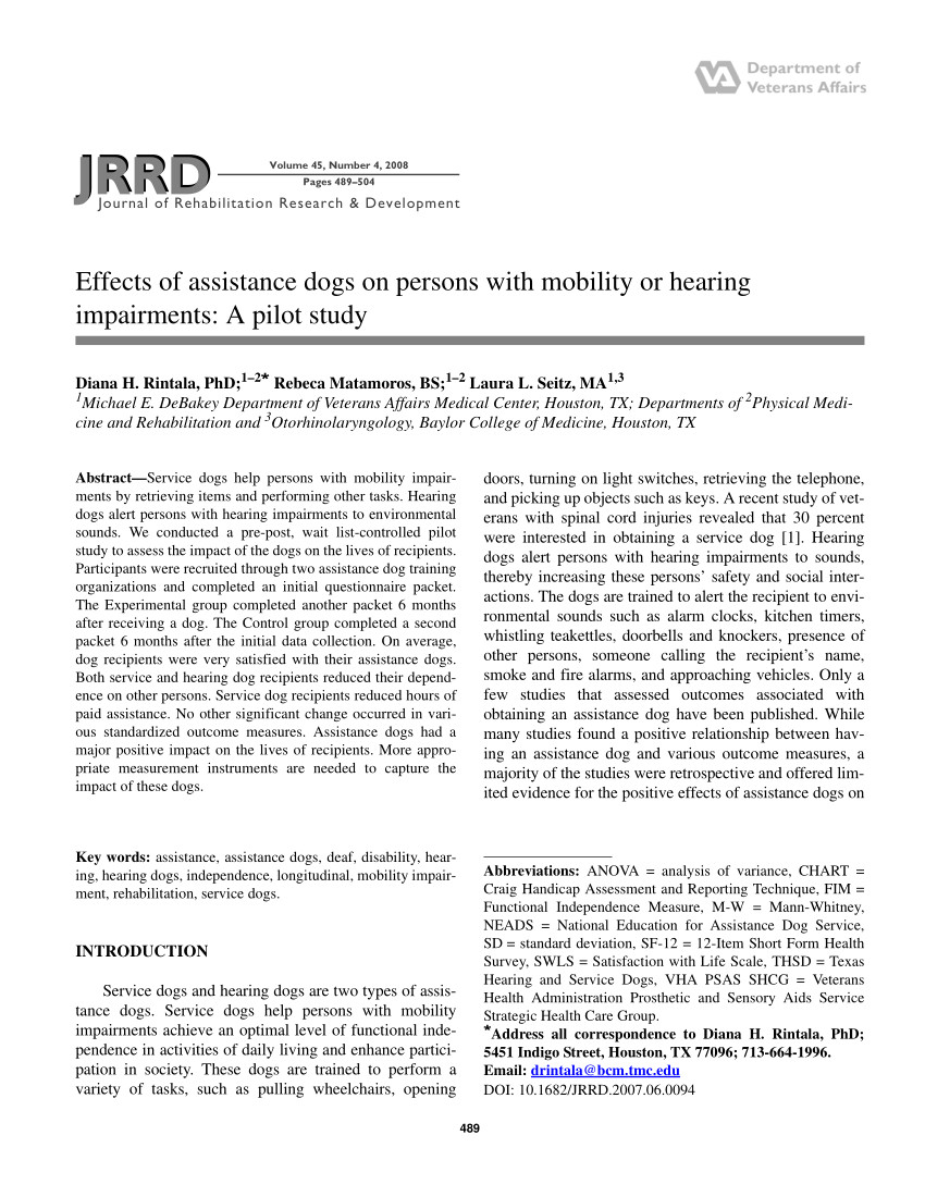 pdf the effects of service dogs on the lives of persons with mobility impairments a pre post study design