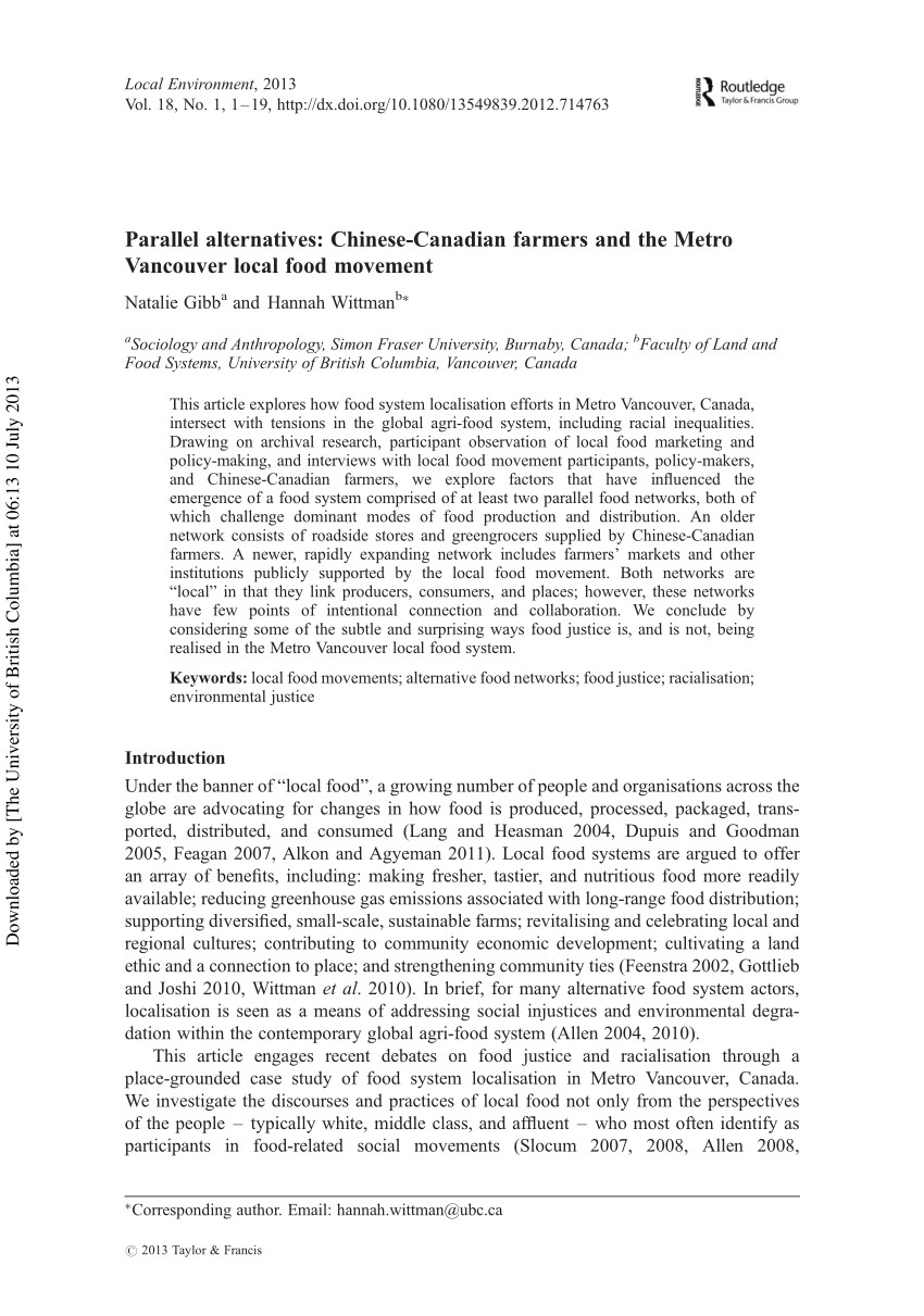 pdf parallel alternatives chinese canadian farmers and the metro vancouver local food movement