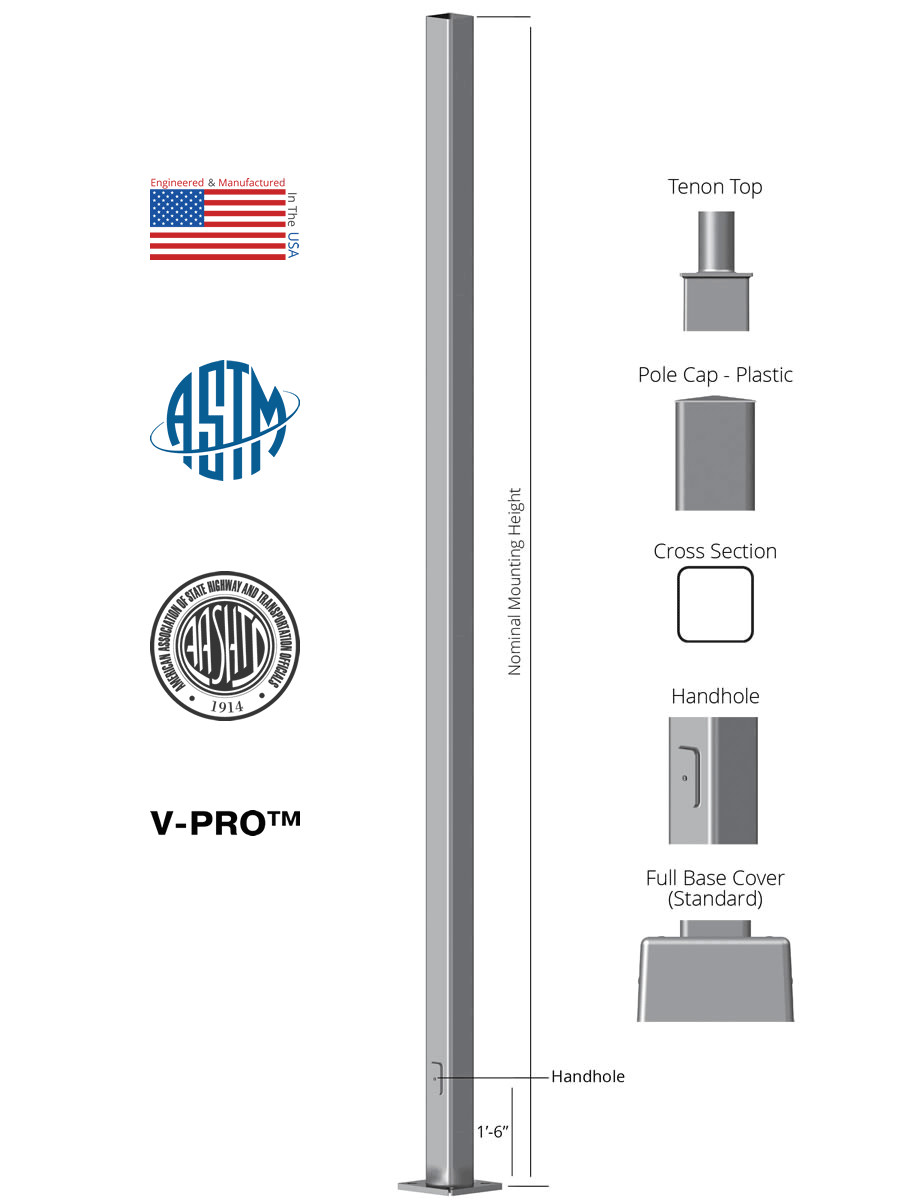 square straight steel anchor base light pole
