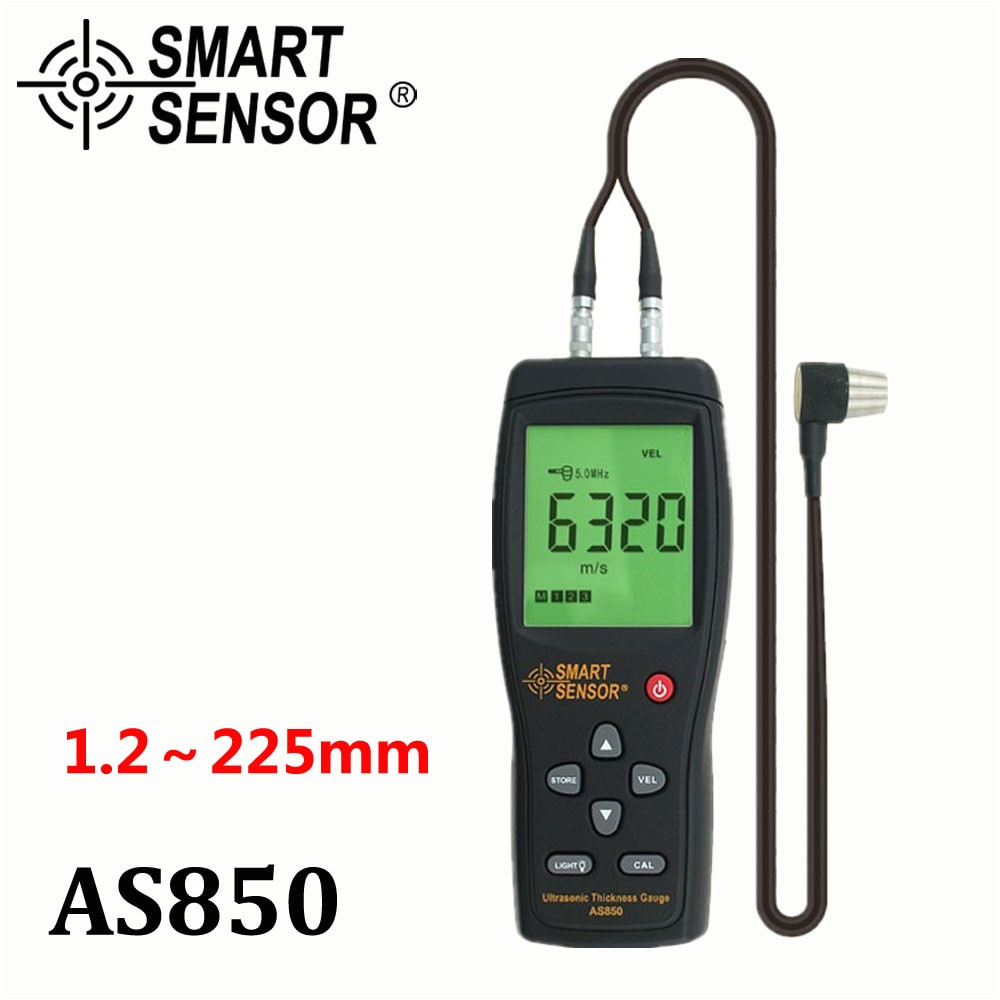 ultrasonic thickness gauge tester sound velocity meter metal width measuring instrument 1 2 to 225mm for steel aluminium plate in width measuring