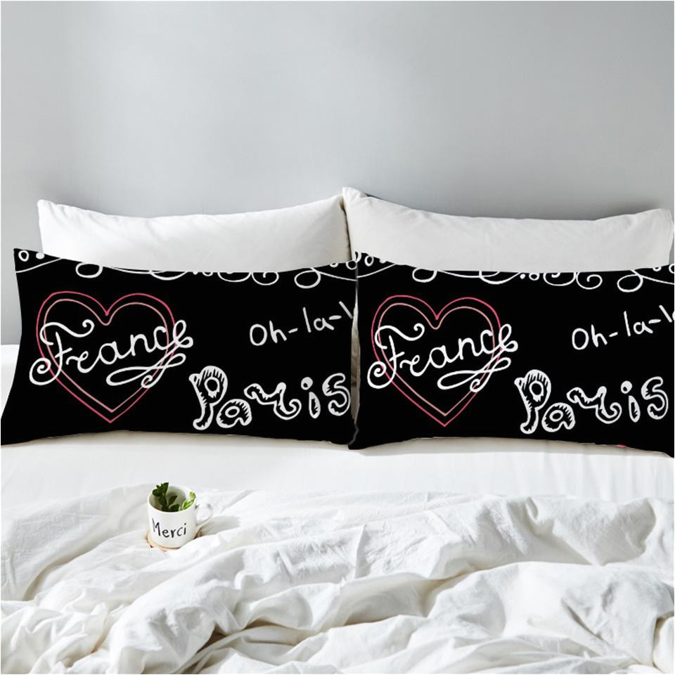 black white paris france pillow cases 2 piece sets