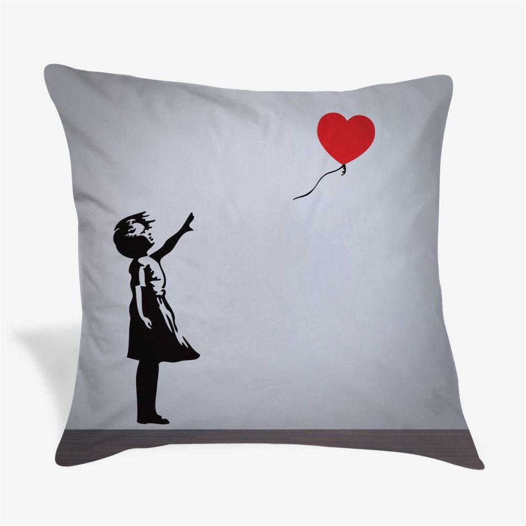 balloon girl with heart banksy pillow case