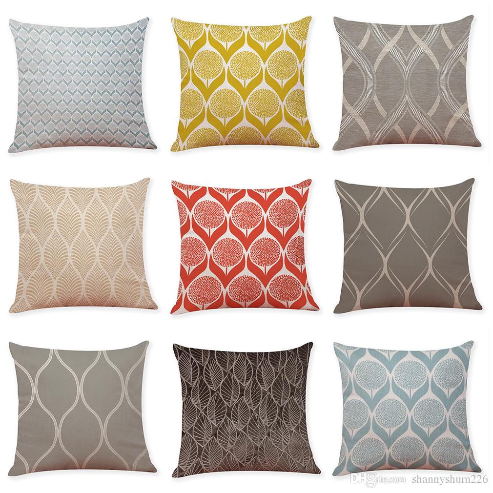 leaf texture geometric pattern linen cushion covers home office sofa square pillow case decorative pillow covers without insert 18 18inch 24x24 outdoor