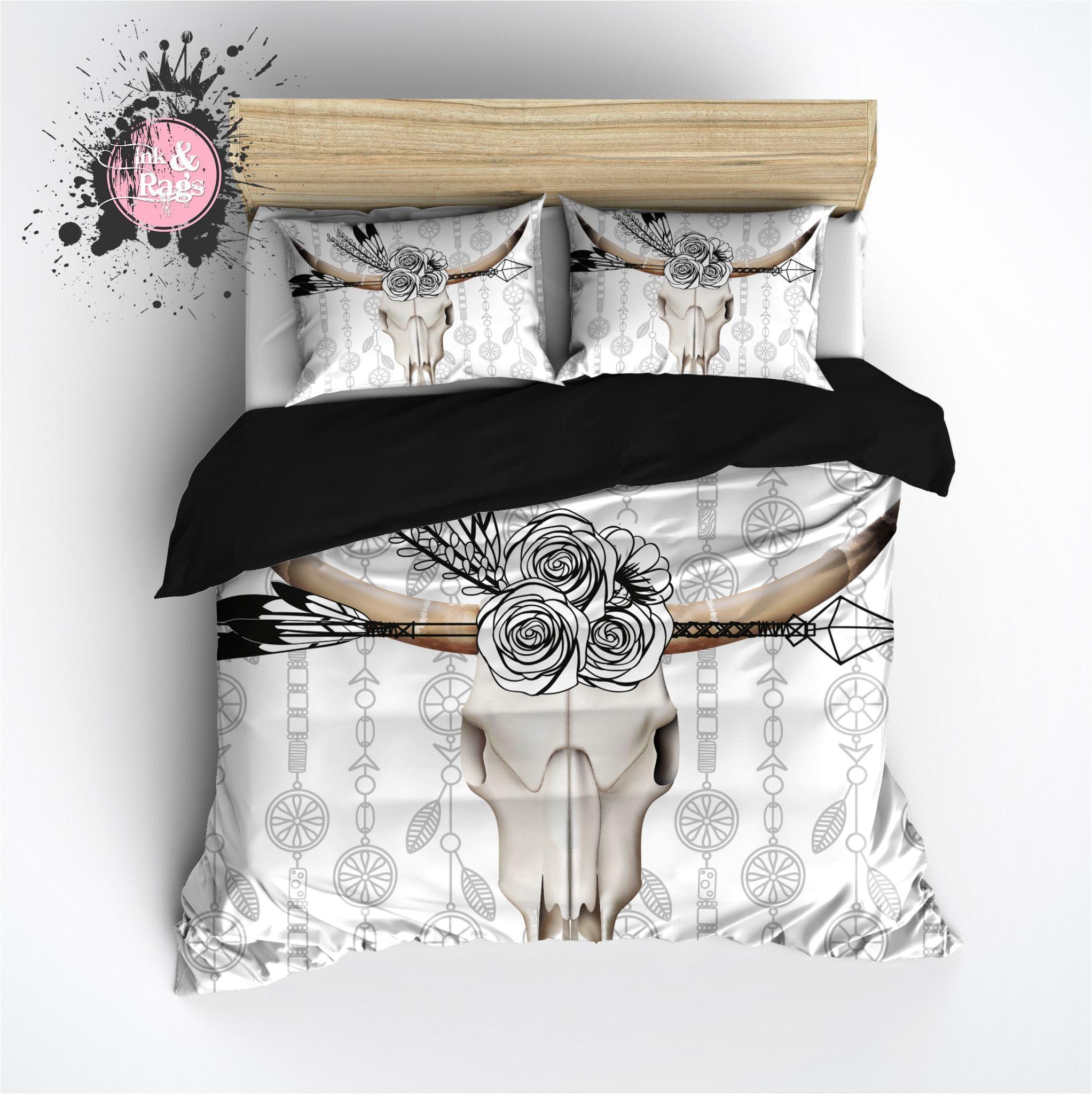 boho bull skull flower and feather duvet bedding sets