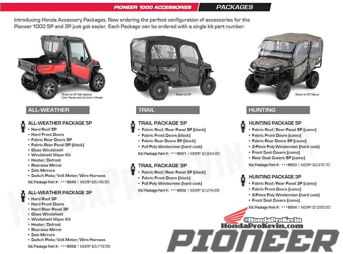 custom honda pioneer 1000 packages accessories utv side by side atv sxs