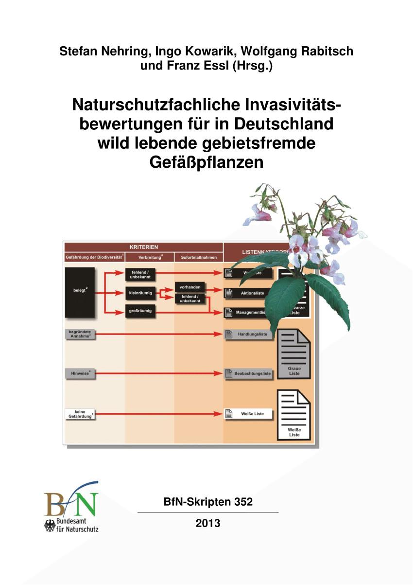 pdf naturschutzfachliche invasivitatsbewertungen fur in deutschland wild lebende gebietsfremde gefaa pflanzen i einfuhrung auswertung und