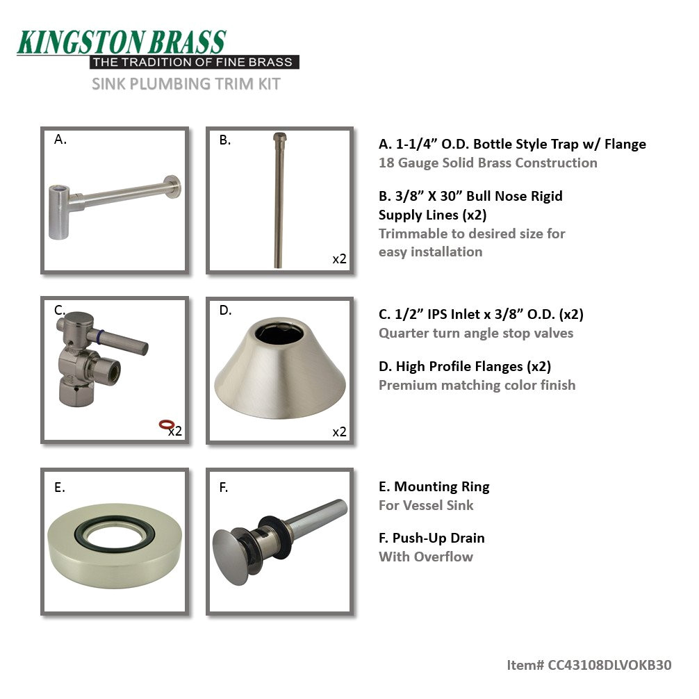 kingston brass cc43108dlvokb30 contemporary plumbing sink trim kit with bottle trap for vessel sink with overflow hole satin nickel amazon com