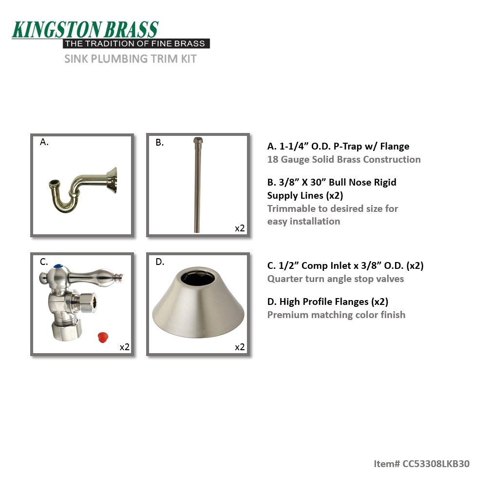 kingston brass cc53308lkb30 traditional plumbing sink trim kit with p trap for lavatory and kitchen satin nickel faucet trim kits amazon com