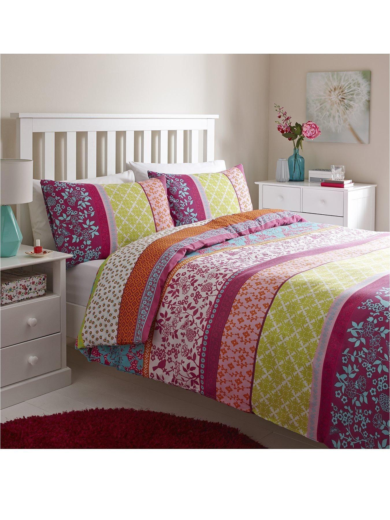 chloe duvet cover set a fabulous multi coloured print stripe bedding colour multi 60 cotton 40 polyester machine washable