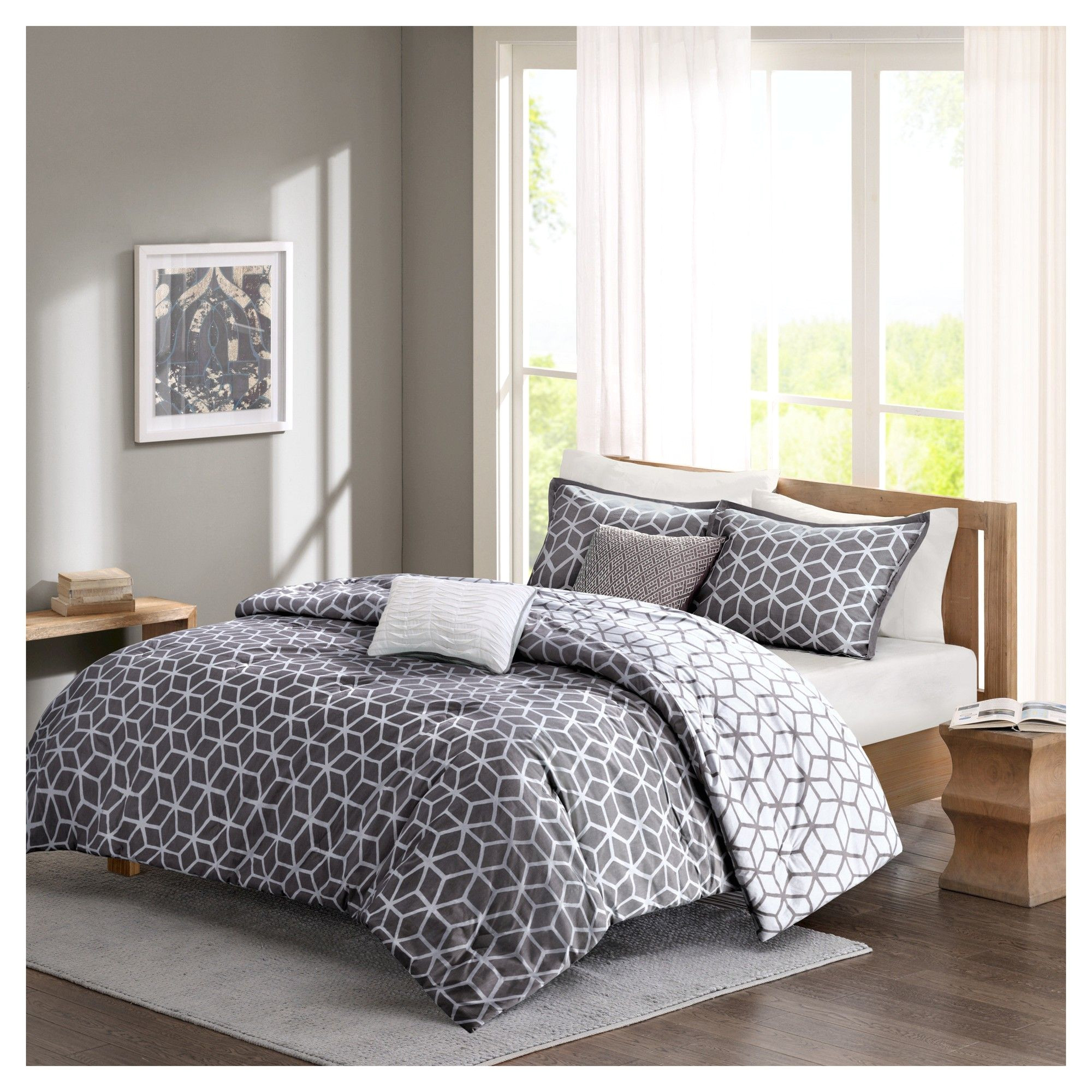 gianna geometric cotton comforter set king california king 5 piece gray