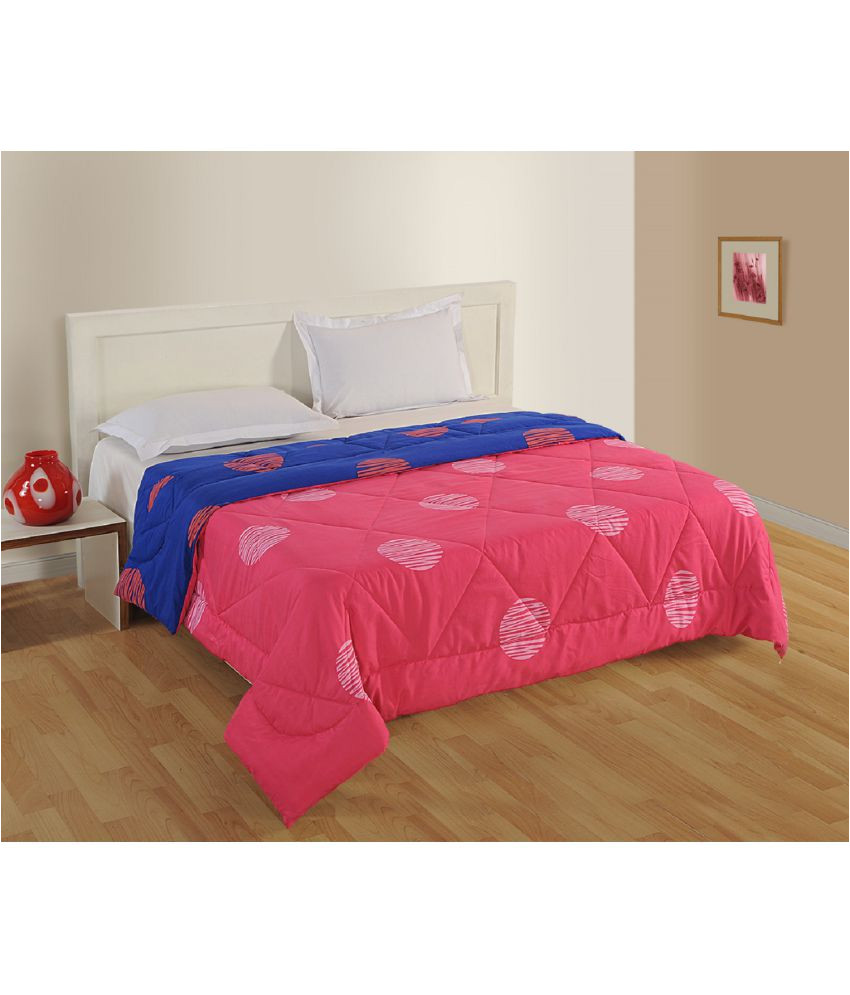 swayam single poly cotton geometrical pink comforter