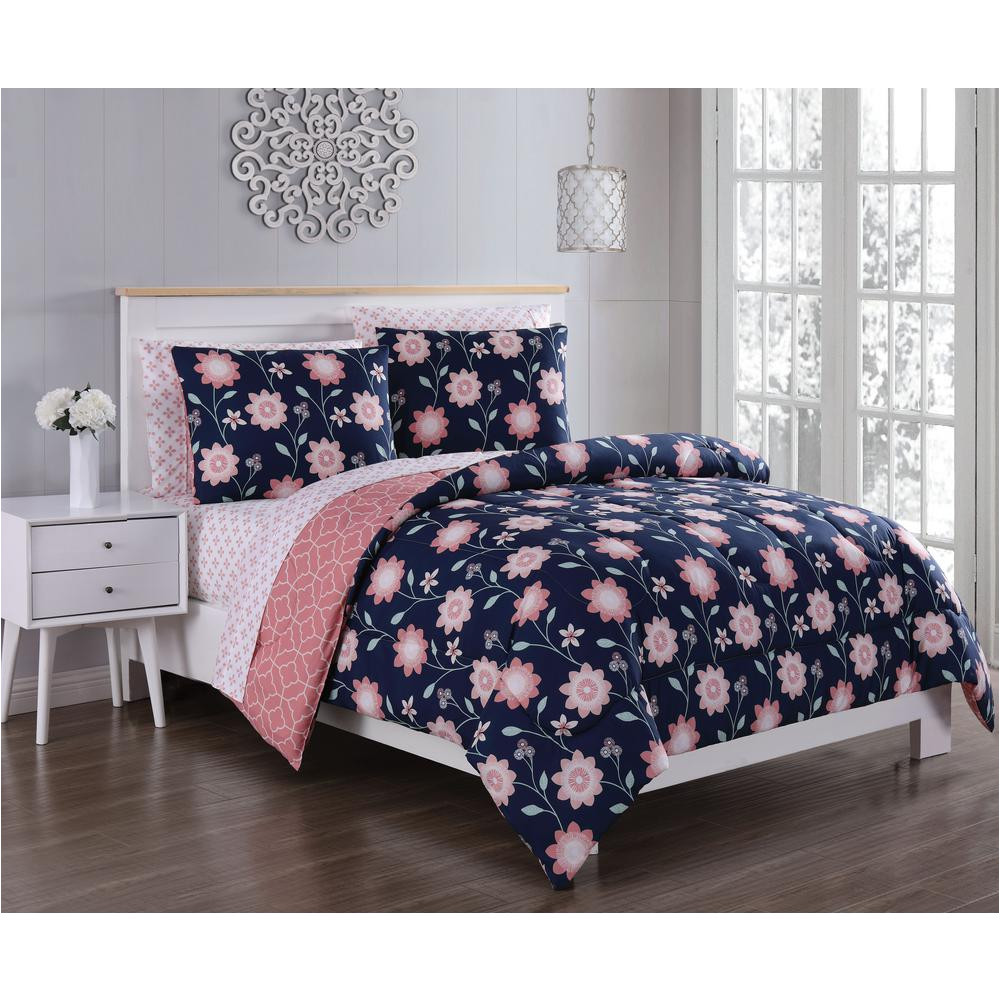 britt 5 piece navy coral twin bed in a bag