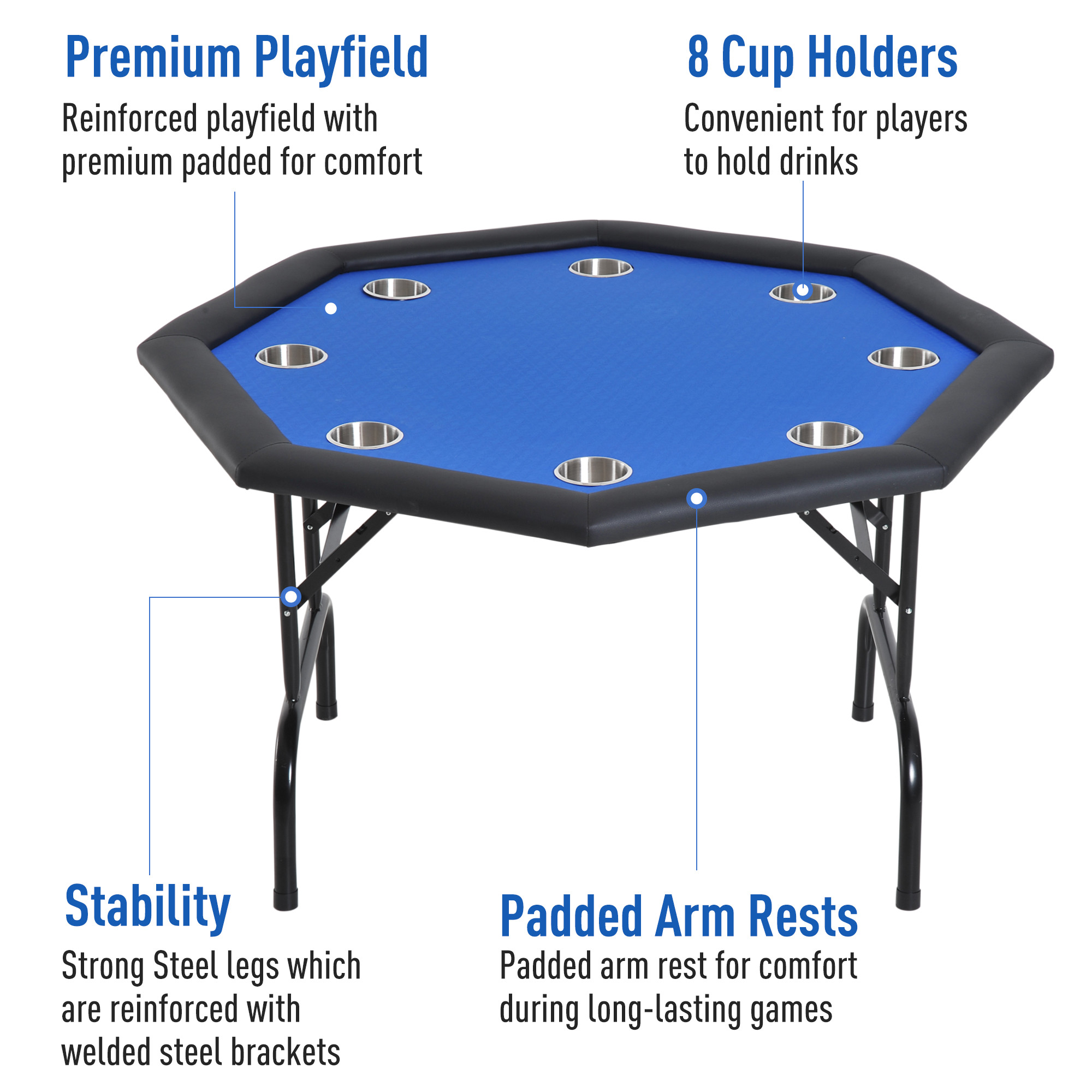 soozier 48 8 player octagon poker table with cup holders folding blue felt walmart com