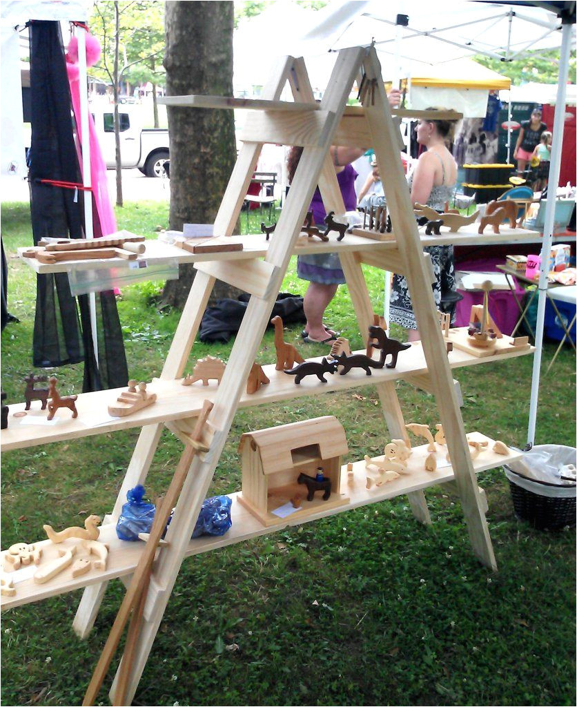 diy folding ladder shelf for your craft show display great portable idea for a market stall