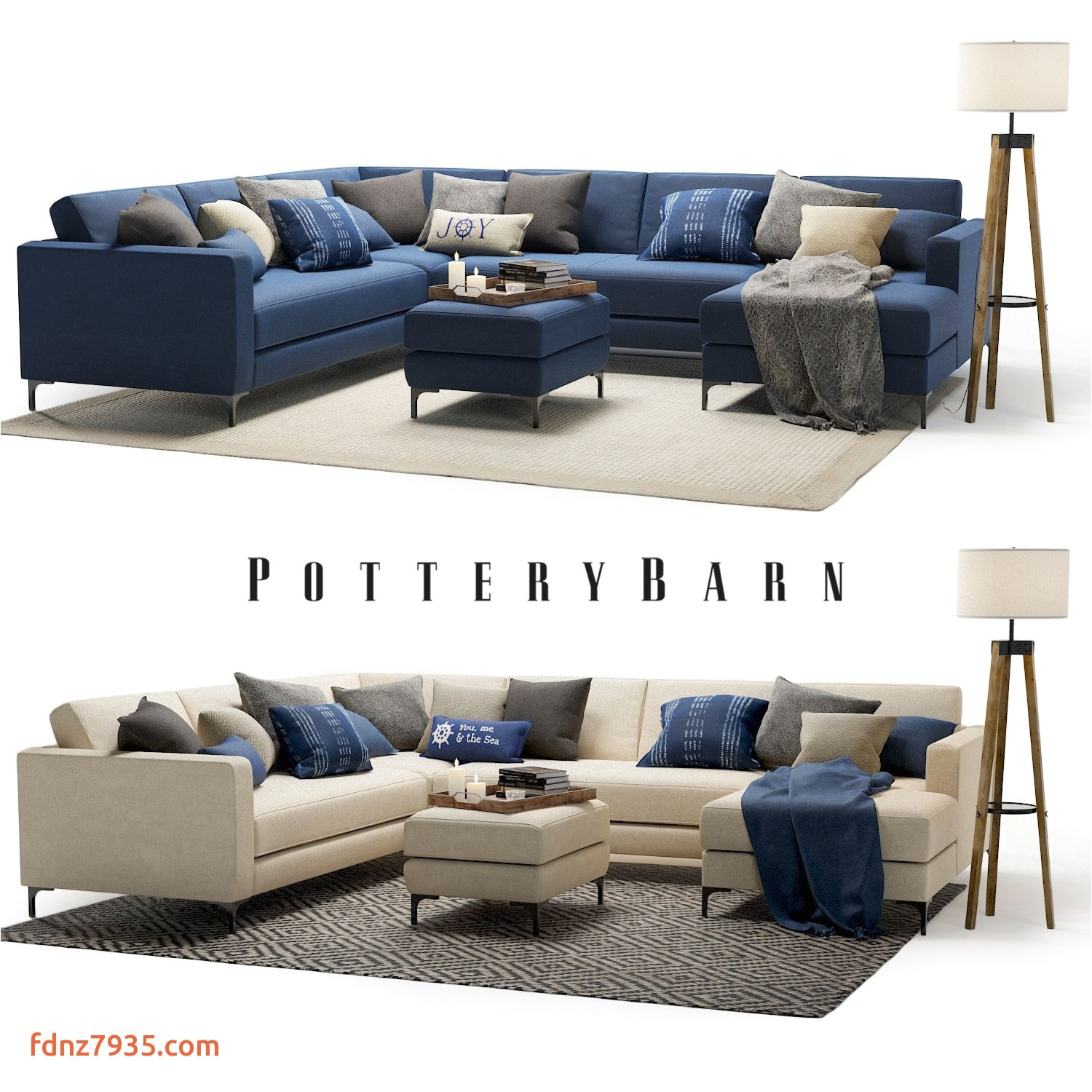 3d model pottery barn jake sectional sofa with miles tripod floor lamp