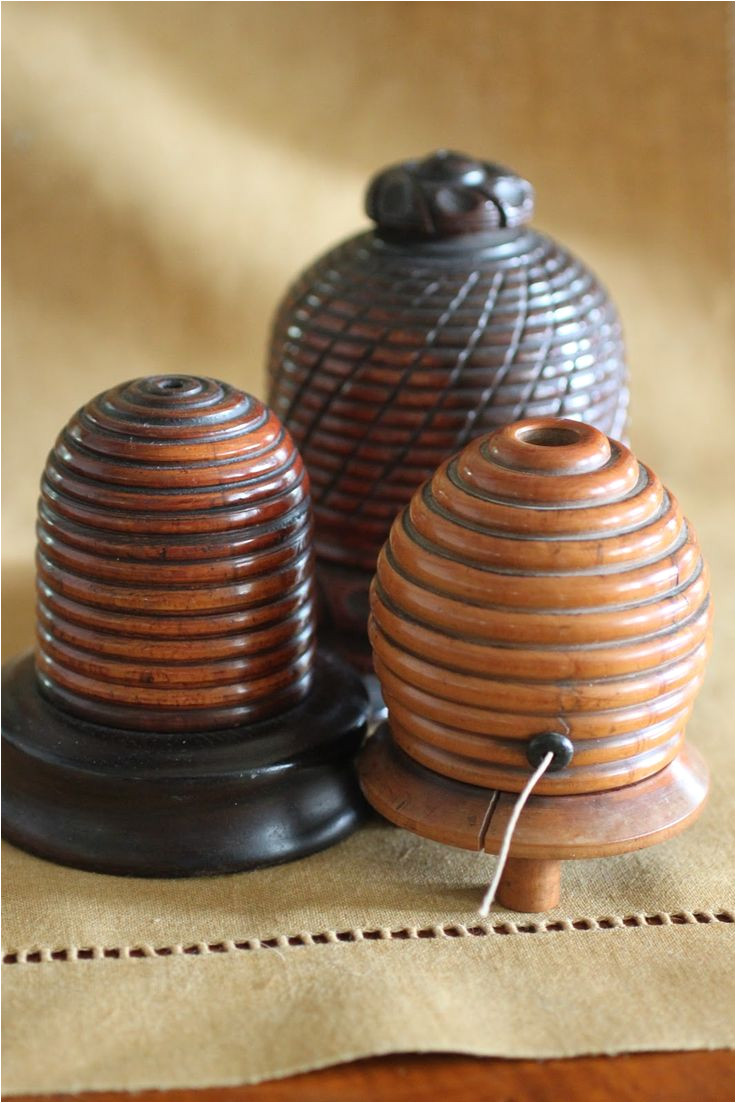 bee three little nineteenth century english turned wood bee skep form string holders