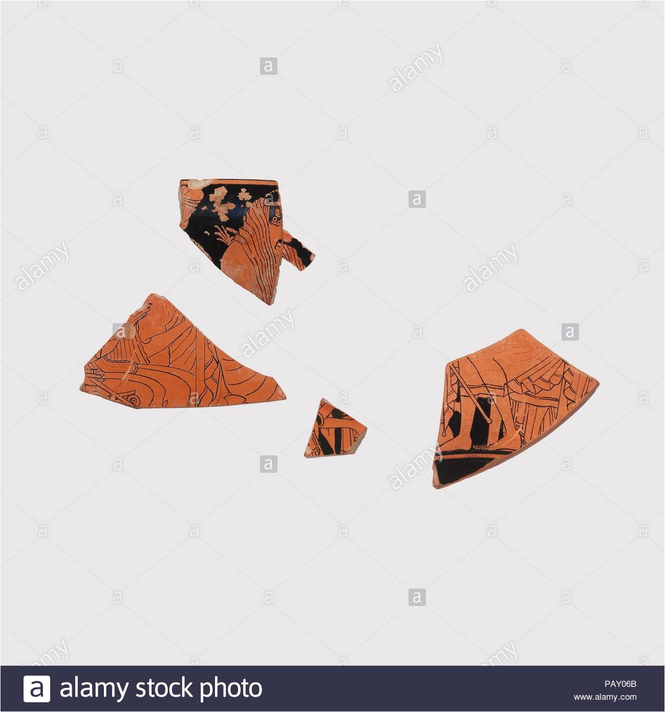 fragments of a terracotta kylix drinking cup culture greek attic