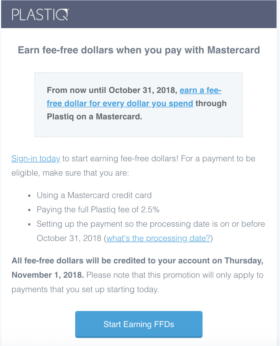 ffd are plastiq s currency for free payment processing