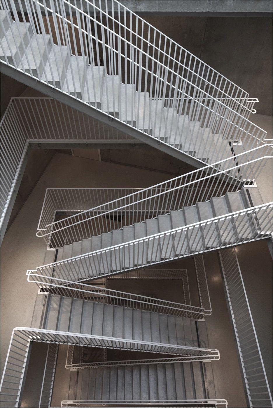 rectangular stairway in an apartment building vastra kajen 1 built by tham and videgard arkiteker in jonkoping sweden photo by a ke e son lindman